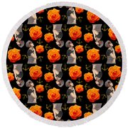 Girl With Roses And Anchors Black Round Beach Towel