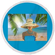 Girl With Summer Hat Round Beach Towel