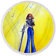 Girl With Sword. Astral Traveler Round Beach Towel
