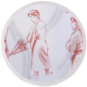 Girl With Umbrella 3 Round Beach Towel
