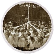 Girls  Doing The Maypole Dance Pacific Grove Circa 1890 Round Beach Towel