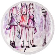 Girls Night Out Round Beach Towel