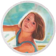 Girl's Portrait Round Beach Towel