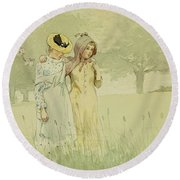 Girls Strolling In An Orchard Round Beach Towel