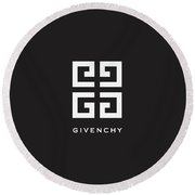 Givenchy - Black And White - Lifestyle And Fashion Round Beach Towel