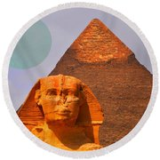 Giza Sphinx 2 Round Beach Towel