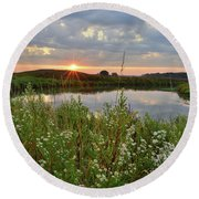 Glacial Park Sunrise On The Nippersink Round Beach Towel