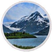 Glacier Alaska Lake  Round Beach Towel