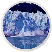 Glacier - Calving - Reflection Round Beach Towel