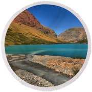 Glacier Cracker Lake Round Beach Towel