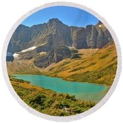 Glacier Cracker Lake Panorama Round Beach Towel