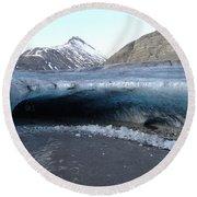 Iceland - Glacier Ice Cave 'entrance' #1 Round Beach Towel