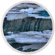Glacier Iceberg Panorama Round Beach Towel