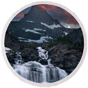 Glacier Morning Waterfall And Moonset Round Beach Towel