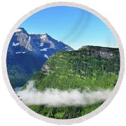Glacier Mountain Above The Fog Round Beach Towel
