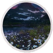 Glacier National Park At Dawn Round Beach Towel