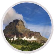 Glacier National Park At Logan Pass Round Beach Towel
