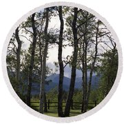 Glacier National Park Green Trees Mountains Round Beach Towel