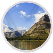 Glacier National Park Mountains Round Beach Towel