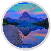 Glacier National Park Poster Round Beach Towel