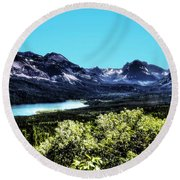 Glacier National Park Views Panorama No. 01 Round Beach Towel