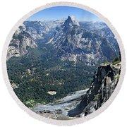 Glacier Point Panorama - Yosemite Valley Round Beach Towel