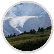 Glacier Tongue Scours The Valley Far Below Round Beach Towel