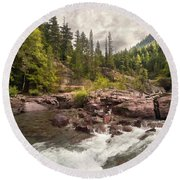 Glacier Waterfall Round Beach Towel