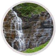 Glacier Waterfalls Round Beach Towel