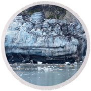 Glacier With Kayakers Round Beach Towel