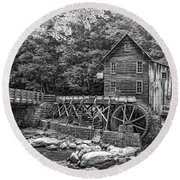 Glade Creek Grist Mill 2 Bw Round Beach Towel
