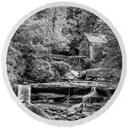 Glade Creek Grist Mill 3 - Paint 2 Bw Round Beach Towel