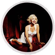 Glance At Hollywood - Marilyn Monroe Round Beach Towel