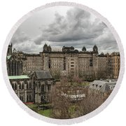 Glasgow Cathedral And Victoria Infirmary Round Beach Towel