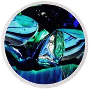 Glass Abstract 141 Round Beach Towel