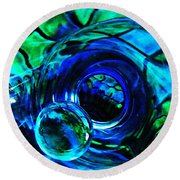 Glass Abstract 226 Round Beach Towel by Sarah Loft