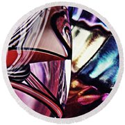Glass Abstract 523 Round Beach Towel