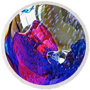 Glass Abstract 609 Round Beach Towel