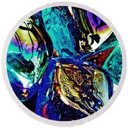 Glass Abstract 687 Round Beach Towel