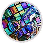 Glass Abstract 696 Round Beach Towel