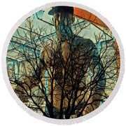 Glass And Branches  Round Beach Towel