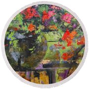 Glass And Flowers Round Beach Towel