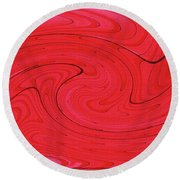 Glass And Steel Building Red Abstract Round Beach Towel