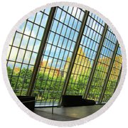 Glass Atrium Architecture Round Beach Towel