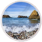 Glass Beach, Fort Bragg California Round Beach Towel