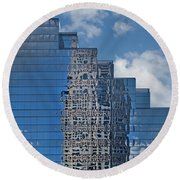 Glass Building Reflections Round Beach Towel