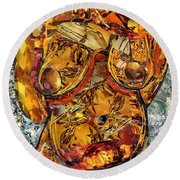 Glass Lady Round Beach Towel by Sarah Loft