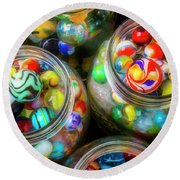 Glass Marbles In Containers Round Beach Towel