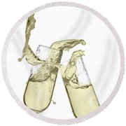 Glasses Of Champagne Round Beach Towel