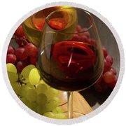 Red And White Wine Round Beach Towel